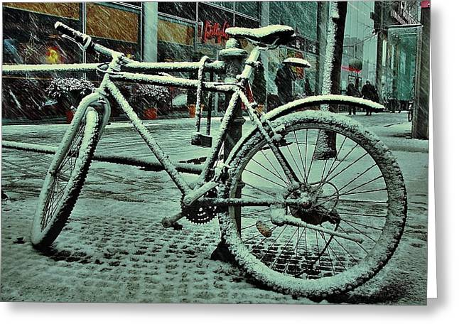 Bicycle In The Snow Greeting Card by Marco Oliveira