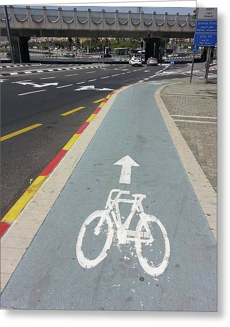 Bicycle Lane In Jerusalem Greeting Card by Photostock-israel