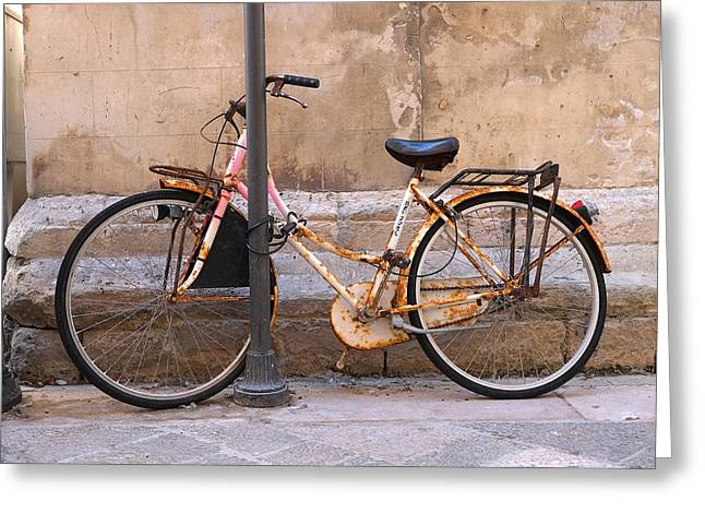 Bicycle Lecce Italy Greeting Card by John Jacquemain