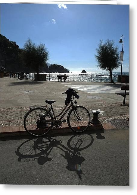 Bicycle Monterosso Italy Greeting Card by John Jacquemain