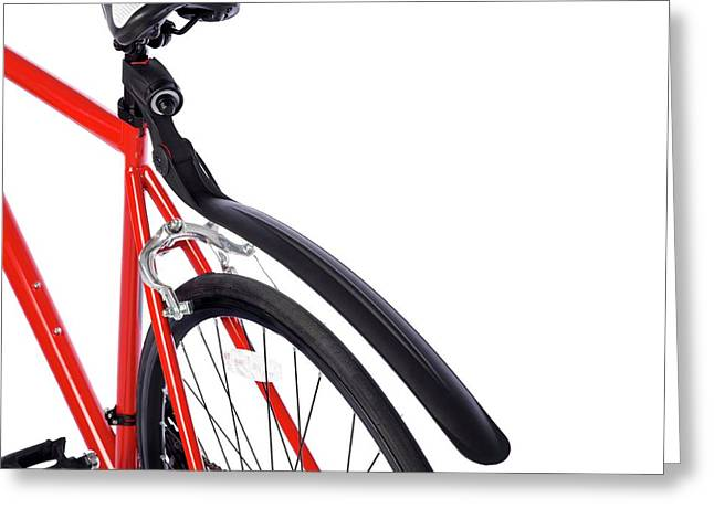 Bicycle Mud Guard Greeting Card by Science Photo Library