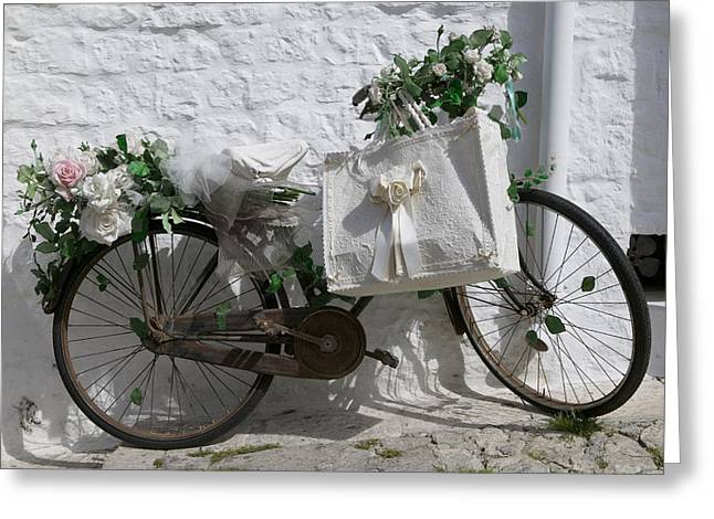 Bicycle Parked Against A Wall, Trulli Greeting Card by Panoramic Images