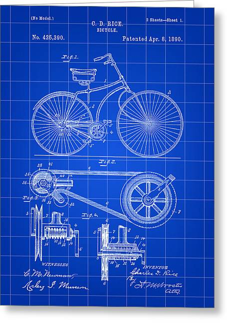 Bicycle Patent 1890 - Blue Greeting Card by Stephen Younts