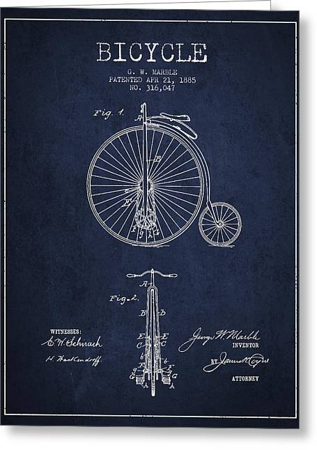 Bicycle Patent Drawing From 1885 - Navy Blue Greeting Card by Aged Pixel