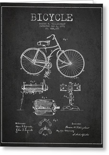 Bicycle Patent Drawing From 1891 Greeting Card by Aged Pixel