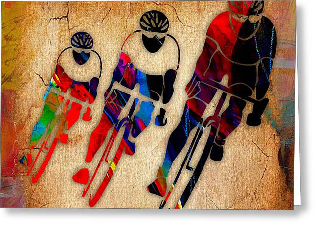 Bicycle Race Greeting Card by Marvin Blaine