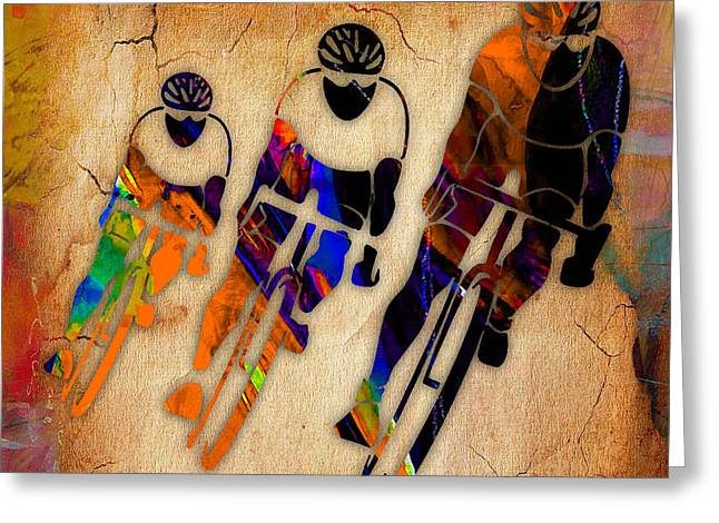 Bicycle Racing Greeting Card by Marvin Blaine