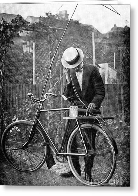 Bicycle Radio Antenna, 1914 Greeting Card by Spl