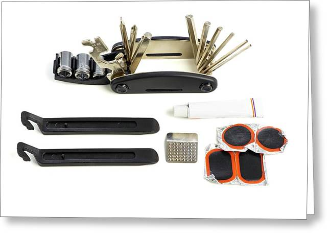 Bicycle Repair Kit Greeting Card by Science Photo Library