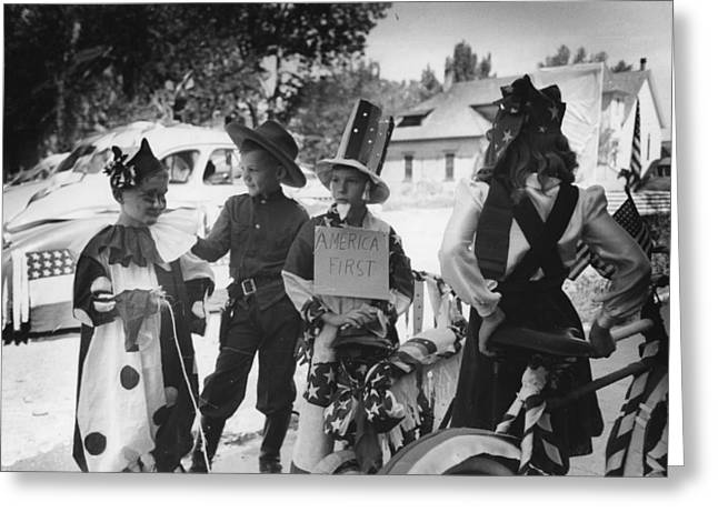 Bicycle Riders In Parade On The Fourth Of July At Vale Oregon Greeting Card
