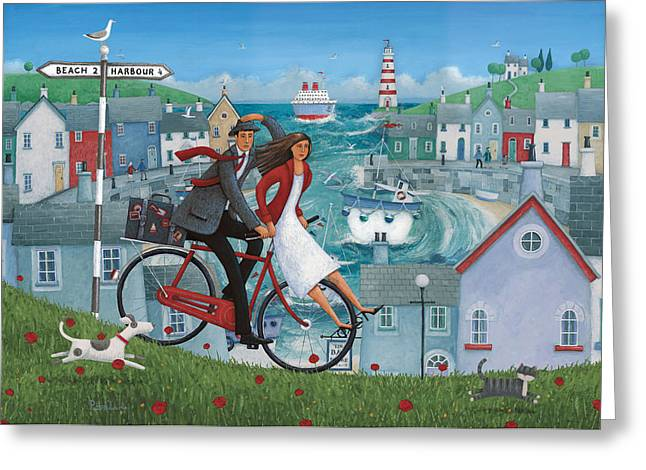 Bicycle Seascape Greeting Card