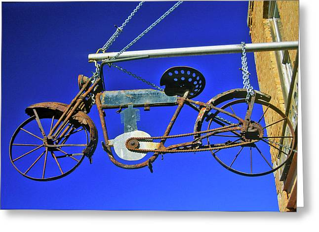 Bicycle Sign Outside Store, Virginia Greeting Card