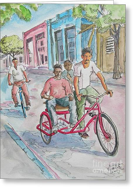 Bicycle Taxi In Cuba Greeting Card by John Malone