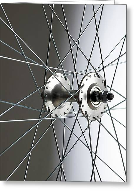 Bicycle Wheel Hub Greeting Card by Science Photo Library