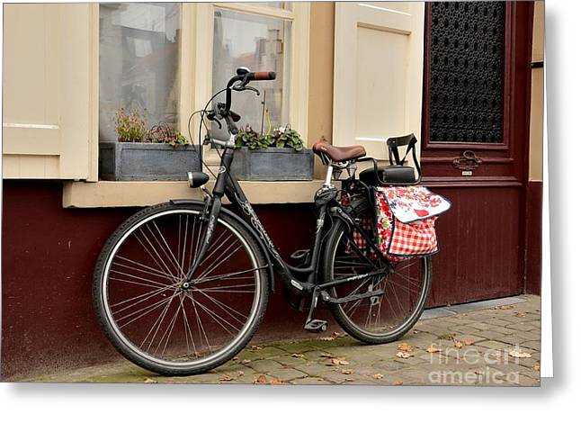 Bicycle With Baby Seat At Doorway Bruges Belgium Greeting Card
