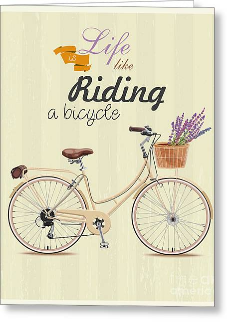 Bicycle With Lavender In Basket. Poster Greeting Card by Tatsiana Tsyhanova