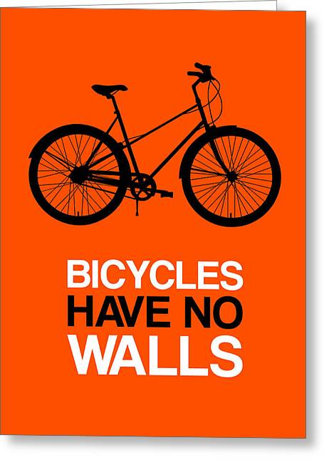 Bicycles Have No Walls Poster 1 Greeting Card by Naxart Studio