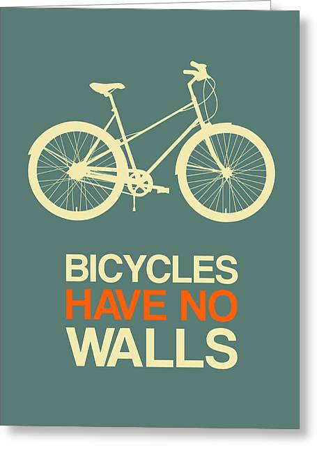 Bicycles Have No Walls Poster 3 Greeting Card by Naxart Studio