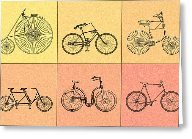 Bicycles Of The 19th Century Greeting Card by Mark Rogan