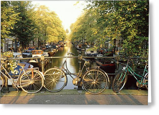 Bicycles On Bridge Over Canal Greeting Card