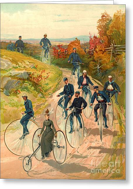 Bicycling 1887 Greeting Card by Padre Art