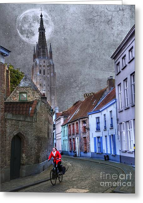 Bicycling Through Bruges Greeting Card