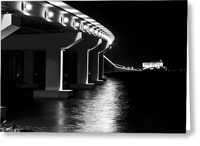 Bienville Blvd. Bridge Night Greeting Card by Marcus Mapp Sr