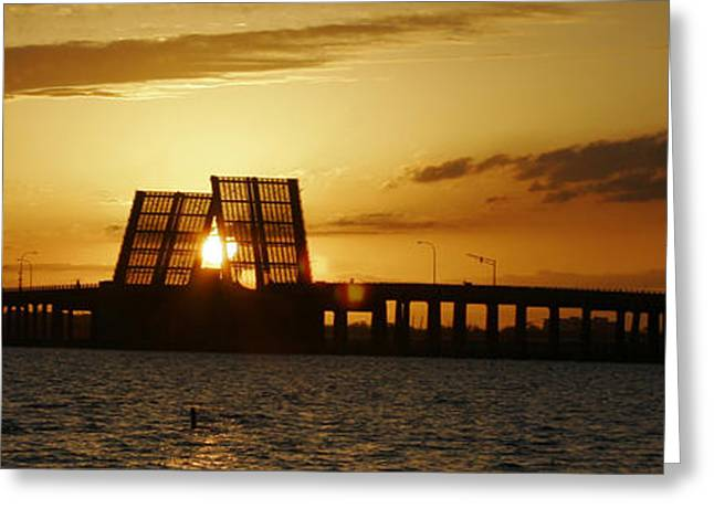 Bienville Blvd Bridge Sunset Greeting Card by Marcus Mapp Sr