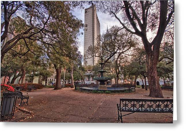 Bienville Spring With Benches Greeting Card