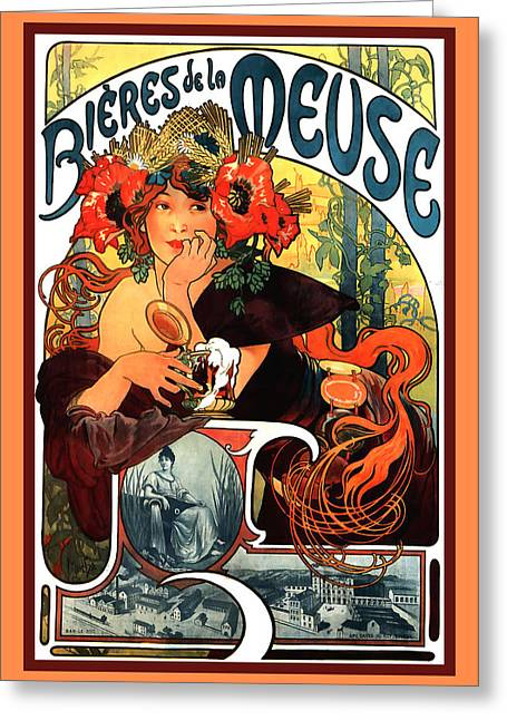 Bieres De Le Meuse Greeting Card by Alphonse Maria Mucha