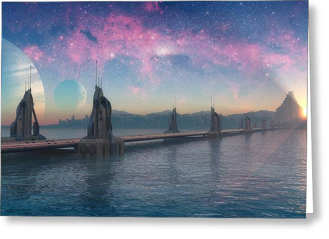 Bifrost Bridge Greeting Card by Cynthia Decker