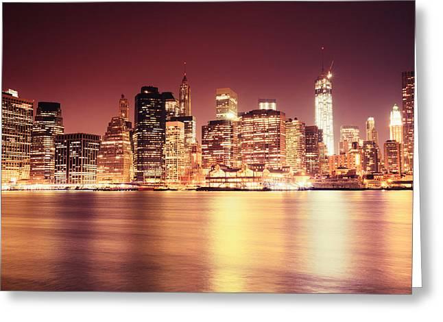 Big Apple - Night Skyline - New York City Greeting Card