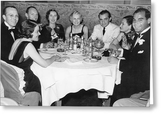 Big Band Dining In La Greeting Card by Underwood Archives