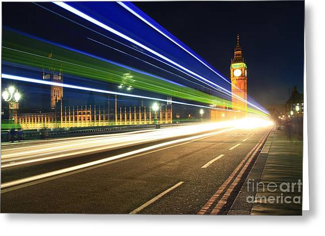 Greeting Card featuring the photograph Big Ben And A Bus by Jeremy Hayden