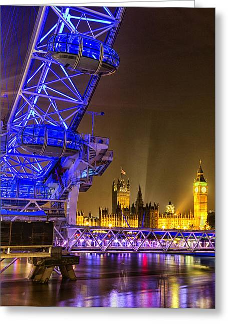 Big Ben And The London Eye Greeting Card by Ian Hufton