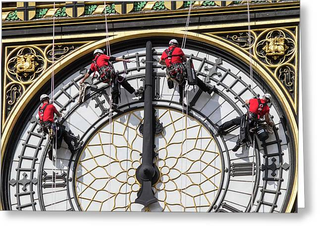 Big Ben Clock Face Cleaning Greeting Card by Mark Thomas