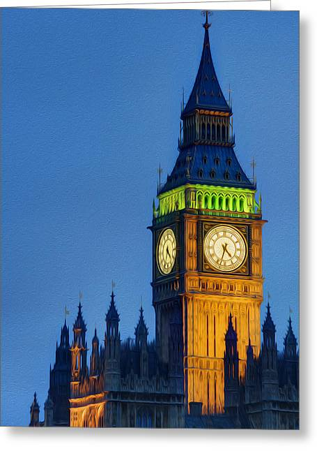 Big Ben London Digital Painting  Greeting Card