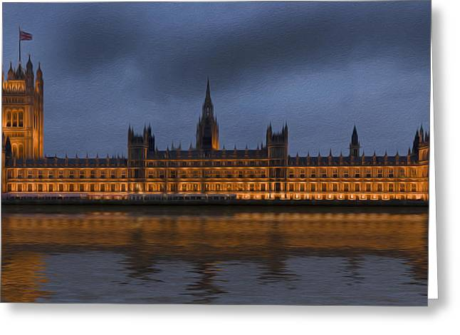 Big Ben Parliament London Digital Painting Greeting Card by Matthew Gibson
