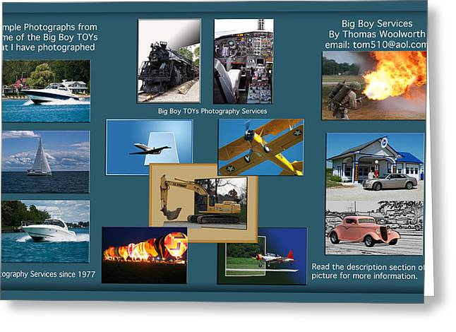 Big Boy Toys Photography Services Greeting Card by Thomas Woolworth