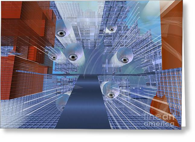 Greeting Card featuring the digital art Big Brother Is Watching by Susanne Baumann