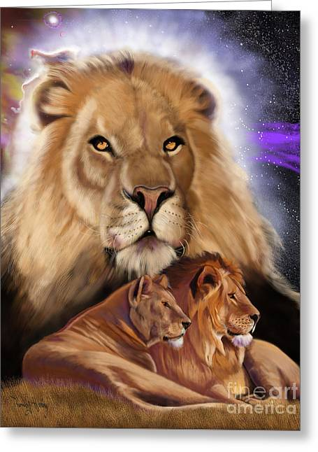 Greeting Card featuring the painting Third In The Big Cat Series - Lion by Thomas J Herring