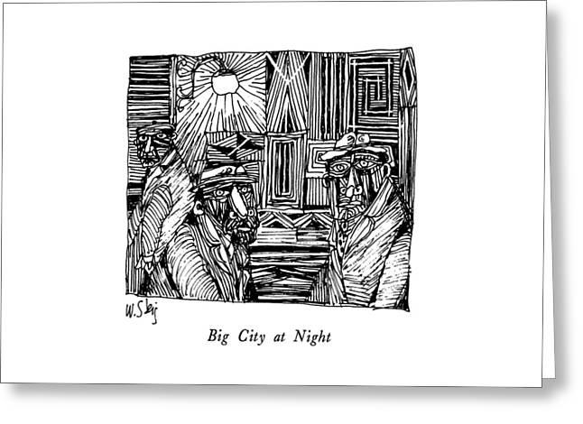Big City At Night Greeting Card