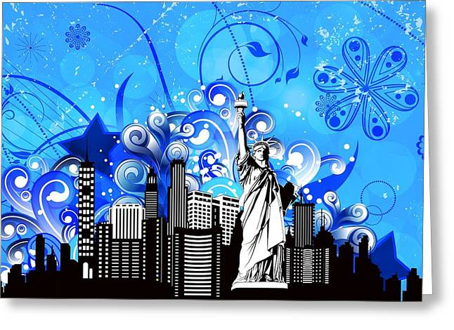 Big City Blues 4 Liberty Greeting Card by Stanley Mathis