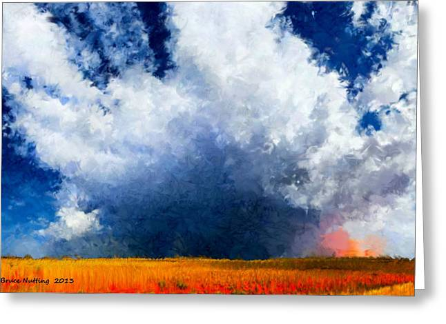 Greeting Card featuring the painting Big Cloud In A Field by Bruce Nutting