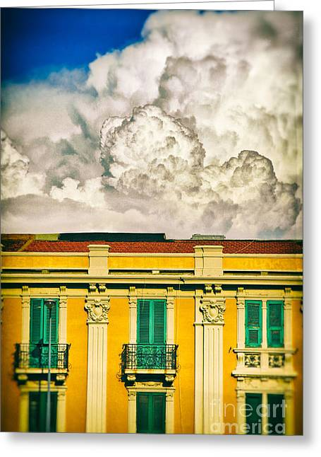 Greeting Card featuring the photograph Big Cloud Over City Building by Silvia Ganora