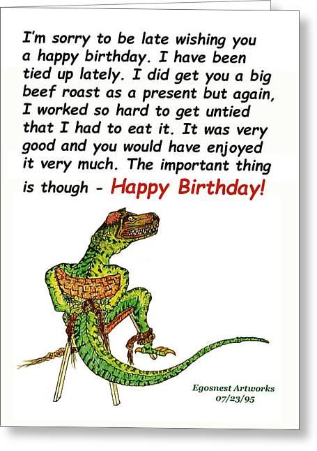 Big Dinosaur Tied Up Birthday Greeting Card by Michael Shone SR