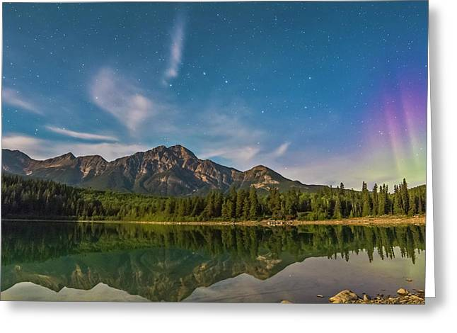 Big Dipper And Aurora Over Pyramid Greeting Card by Alan Dyer