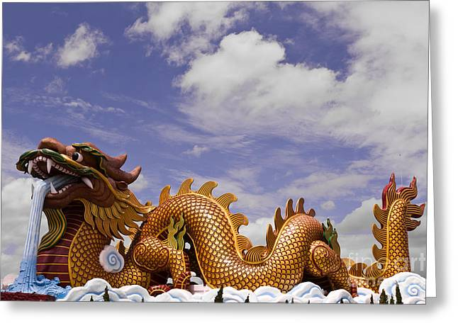Big Dragon Statue And Blue Sky With Cloud In Thailand Greeting Card