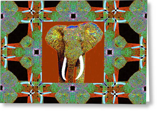 Big Elephant Abstract Window 20130201p20 Greeting Card by Wingsdomain Art and Photography