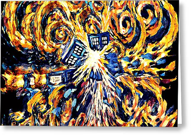 Big Exploded Phone Booth Greeting Card